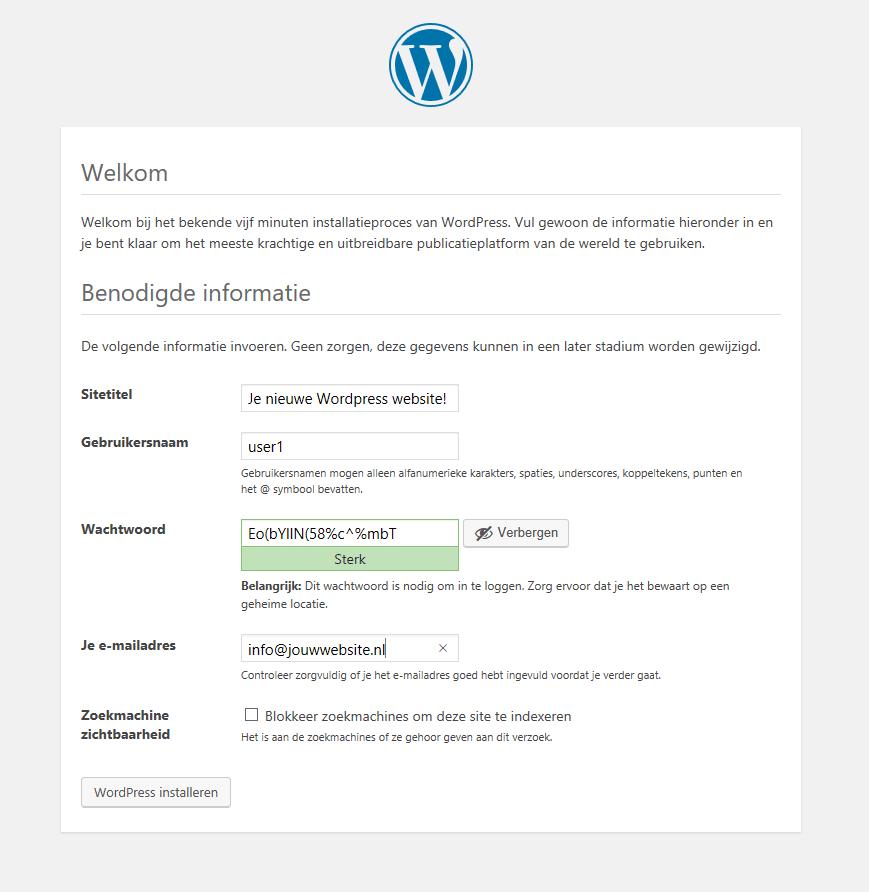 Wordpress installatie