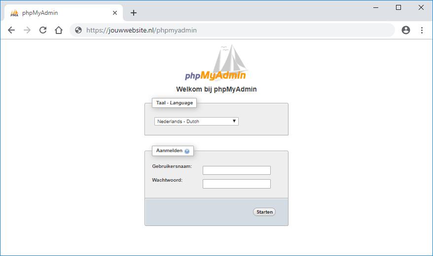 phpmyadmin Wordpress installeren